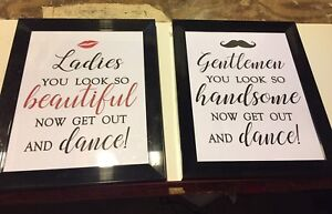 Cute Wedding washroom signs - men's and women's signs
