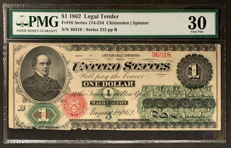 NQC Fr 16 1862 $1 Legal Tender - PMG Very Fine 30
