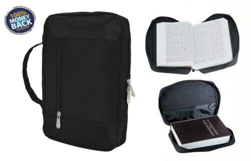 Bible Cover Zipper Protective Holy Book Tote Bag Poly Black For Pastor Preacher
