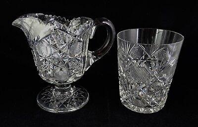 Cut Glass Footed Creamer & Tumbler American Brilliant Period Different Patterns American Brilliant Cut Glass Patterns