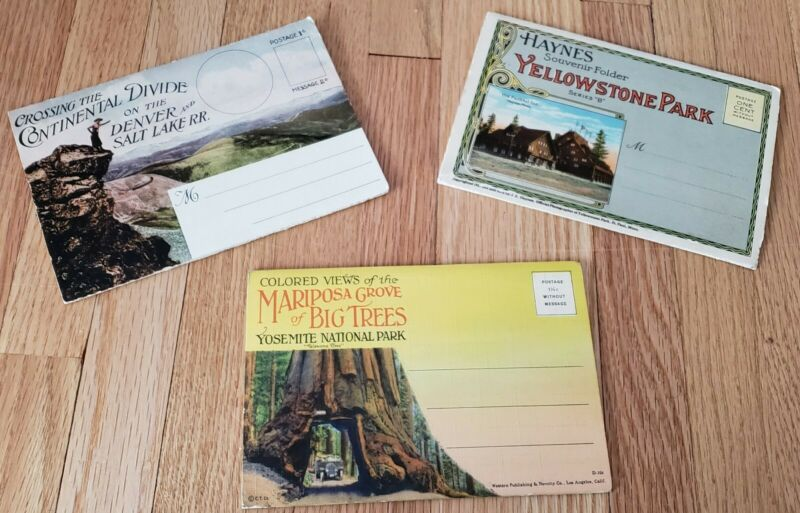 3 VERY OLD POST CARD SOUVENIR FOLIO FOLDERS PARKS