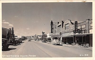 1948 RPPC Early Cars Stores Main St.? Alpine TX (Alpine Stores)