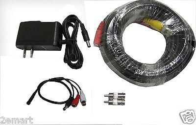 CCTV High Sensitive Microphone Security Camera RCA Audio Mic DC Power & Cable
