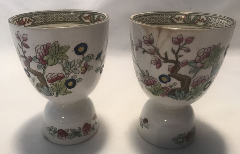 2 RARE ANTIQUE ENGLISH PORCELAIN BURGESS & LEIGH INDIAN TREE DOUBLE EGG CUPS
