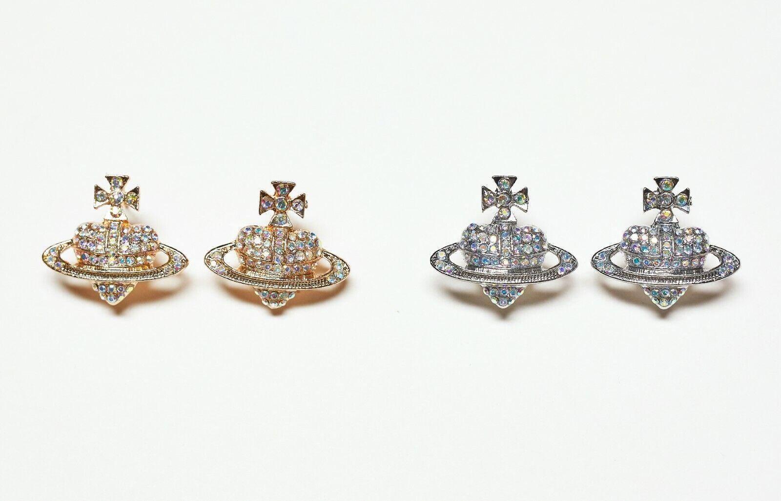 Jewellery - Crystal Saturn Heart Planet Orb Earrings Stud Jewellery Silver Gold Colour