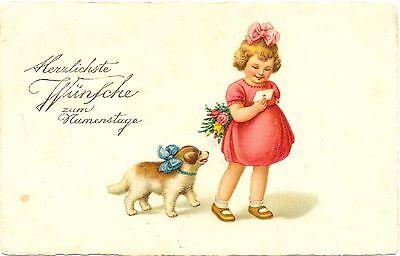 Namenstag, Mädchen mit Blumen, Hund, 1926