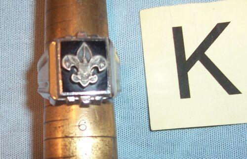 BSA BOY SCOUT Tenderfoot STERLING SILVER BLACK ONYX Rank Medal Badge Emblem Ring