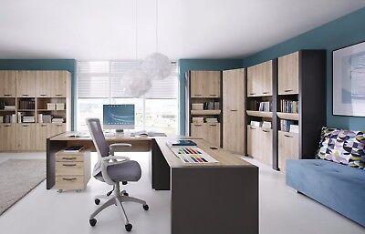 Schreibtisch Büromöbel Modulsystem Eiche Sanremo hell Wofram grau Neu&Schnell - Eiche Hell Büro