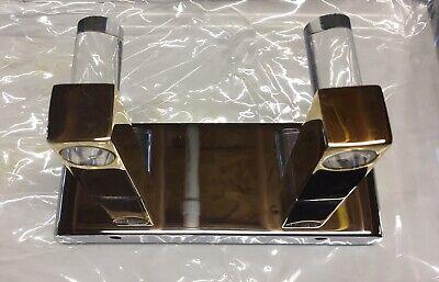 - Paul Decorative Double Robe Hook Wall Mount, Polished Chrome & Polished Gold