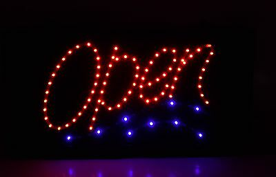 Animated Motion Led Open Sign On Off Switch Bright Light Neon 23 X 11 Large