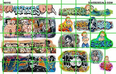 NH110 DAVE'S DECALS - ADULT THEMED CARTOON GRAFFITI BOXCAR WALL URBAN N SCALE 1