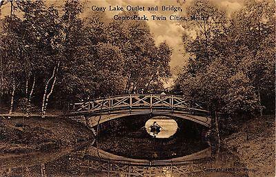 TWIN CITIES MN COMO PARK~COZY LAKE OUTLET & BRIDGE~SUHLING & KOEHN PUBL POSTCARD