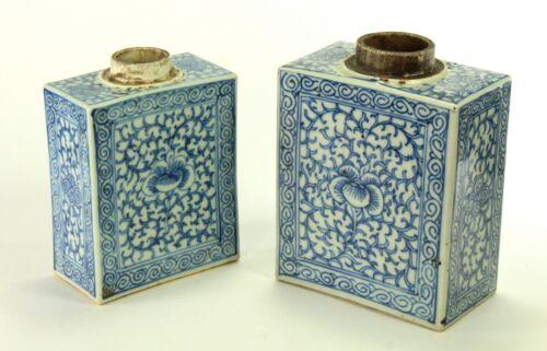 ^Antique Meiji Japanese Set of 2 Blue & White Porcelain Tea Caddy Bottles Signed