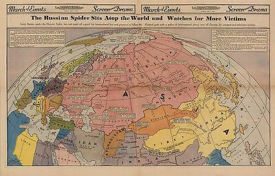 1940 pictorial map Russian Spider Sits Atop World Watches Victims POSTER - Spider Victim