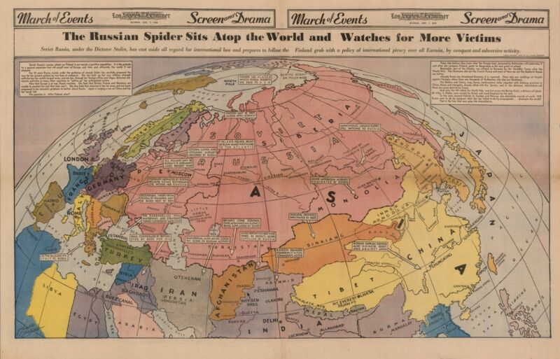 1940 pictorial map Russian Spider Sits Atop World Watches Victims POSTER 8869