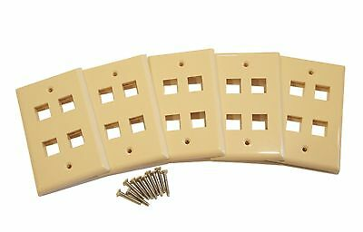 - (5) Pack of 4 Keystone Port Single Gang Data Wall Plates Beige