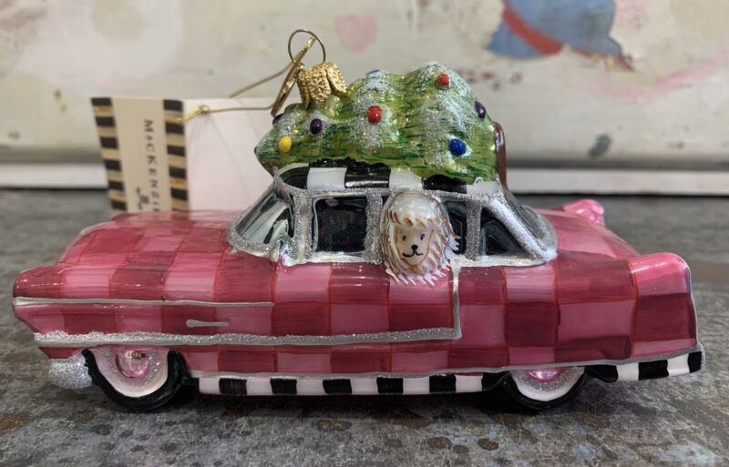 MACKENZIE CHILDS-PINK POODLE CADDY Art Glass Ornament Retired NWT Taxi Car Dog