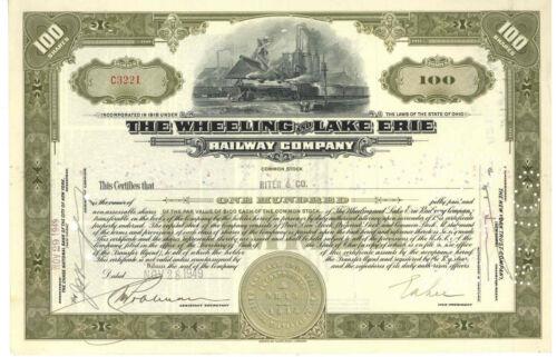 Wheeling and Lake Erie Railway Company. Stock Certificate 1949