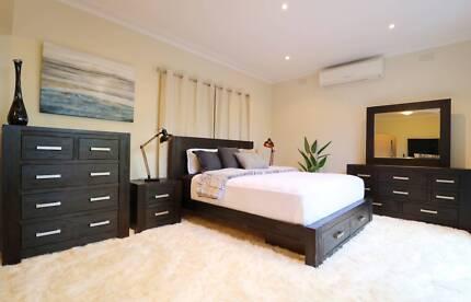 Hardwood Midnight Style 4pc Bedroom Suite (Queen/King)-Brand New