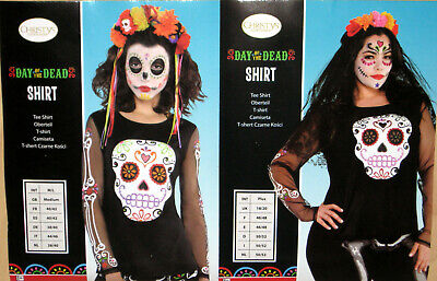 Damen Halloween Langarm T-Shirt Gr. M/L, XXL Tag der Toten Schädel Amscan - Tag Der Toten Damen Kostüm