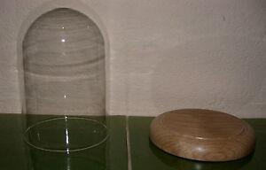 Glasdom mit Boden, Eiche, Glassturz , Uhrensturz, Tischuhr, Standuhr,Uhren,