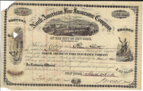 NEW YORK 1868 North American Fire Insurance Co of City of NY Stock Certificate