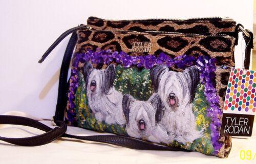 SkyeTerrier hand painted Tyler Rodan medium organizer Handbag purse original