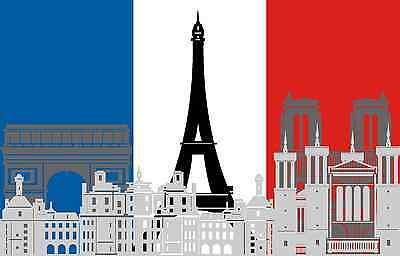 5,4x8,4 cm PREMIUM Auto Aufkleber Frankreich Paris Eiffelturm Sticker Motorrad