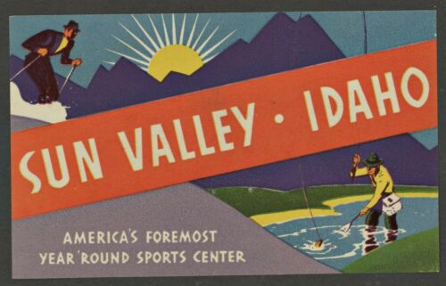 Sun Valley Idaho Skiing  & Fishing Vintage Style Travel Decal Sticker
