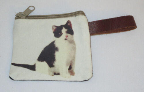 "Black White Cat Coin Purse Leather Strap New Zippered 4"" Long Cats Pets Kitten"