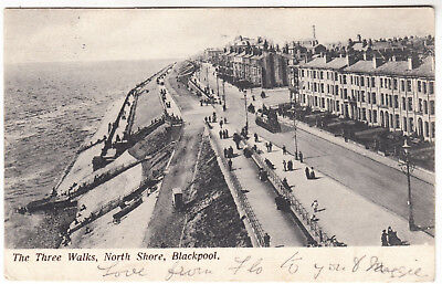 Used, BLACKPOOL NORTH SHORE - Three Walks - Lancashire - Edwardian 1904 used postcard for sale  Shipping to South Africa
