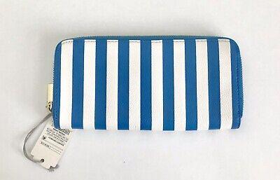 A New Day - Aqua Blue White Striped Zip WALLET Purse Nautical Summer Pool CruIse