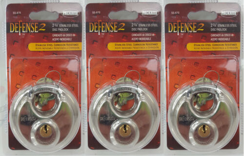 "3 Packrite Defense2 Stainless Steel Disc Padlocks 2-3/4"" SS-870"