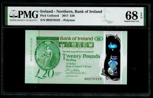 IRELAND - P. NEW -  BANK - 20 POUDS - 2017 - PMG SUPERB GEM UNC 68 EPQ - BH