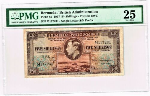 Bermuda: Bermuda Government 5 Shillings 12.5.1937; Pick 8a, PMG Very Fine 25.