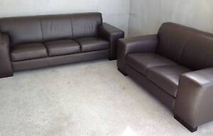 Beautiful Genuine Leather 2 & 3 Seater Lounge Suite in Brown Carrara Gold Coast City Preview