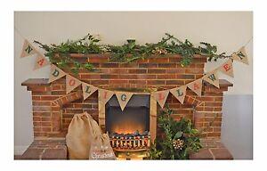 NADOLIG LLAWEN Christmas Garland Home Decoration Hessian Bunting Burlap Banner