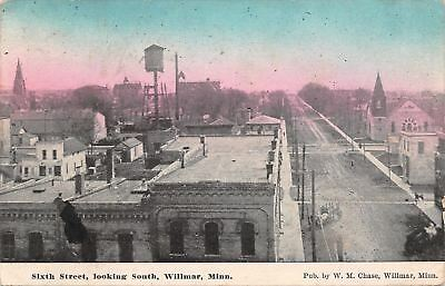 Willmar Minnesota~Sixth Street~Stores~Church~Rooftop~Water Tower~1911 Postcard