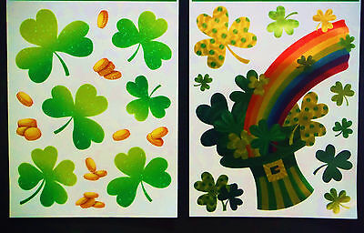 ST PATRICKS DAY WINDOW CLINGS.GREAT HOME DECOR IRISH PUBS  SCHOOLS ETC