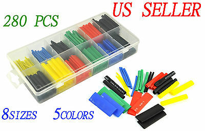 New 280pcs 5 Colors 8 Sizes Assorted 21 Heat Shrink Tubing Wrap Sleeve Kit