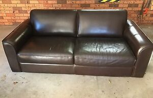 Plush Three Seater Chocolate Brown Leather Sofa Croydon Burwood Area Preview
