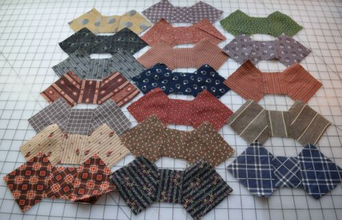 9259  19 antique 1870-90 pre made Bowties for quilt blocks, madders, browns...