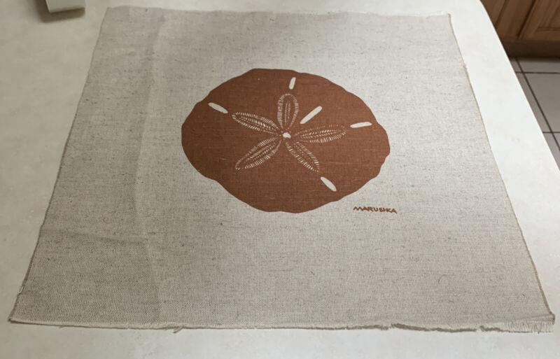 Vintage Marushka Silk Screen Fiber Textile Sand Dollar Art 70s Home Decor 19x19