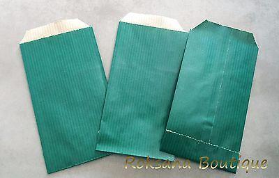 50 Pochettes kraft cadeaux sac sachets papier bijoux emballage vert 7x13 cm