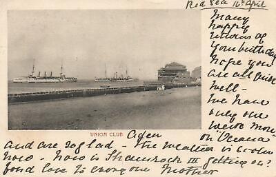1904 VINTAGE UNION CLUB POSTCARD sent to Tattersalls heir at Cooinoo Turramurra