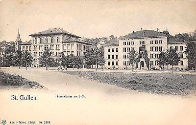 St Gallen Switzerland bird's eye view schoolhouses antique pc (Y9421)