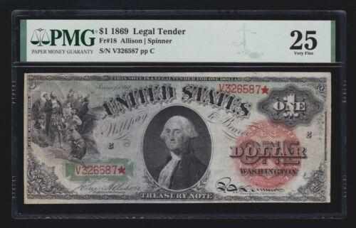US 1869 $1 Washington Rainbow Legal Tender FR 18 PMG 25 VF (587)