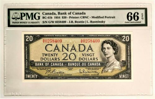 1954 $20 Dollar Bank of Canada Beattie Rasminsky GUNC-66 -G/W- GEM UNCIRCULATED