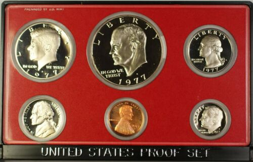 1977 US Mint 6 Coin Proof Set as Issued In OGP W/ Box