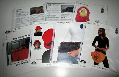 Lot of 7 KNITTING and CROCHET FELTING Pattern Leaflets BAGS HATS BASKETS BOOTIES